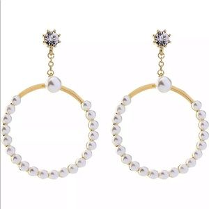 Betsey Johnson Pearl Crystal Hoop Earrings